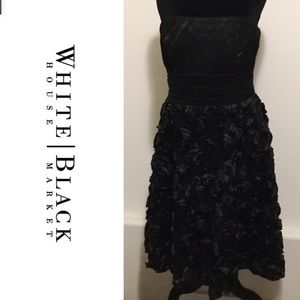 White House Black Market 3D Flower Strapless Dress